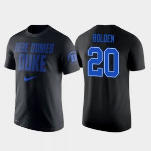 Duke Blue Devils Marques Bolden T-Shirt #20 College Basketball 2 Hit Performance Black For Men's