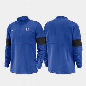Duke Blue Devils Jacket Royal Half-Zip Performance 2019 Coaches Sideline Men's