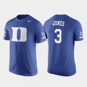 Duke Blue Devils Tre Jones T-Shirt Basketball Replica Royal Men's #3 Future Stars