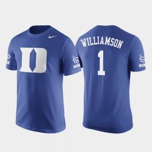 Duke Blue Devils Zion Williamson T-Shirt For Men's Basketball Replica Royal Future Stars #1