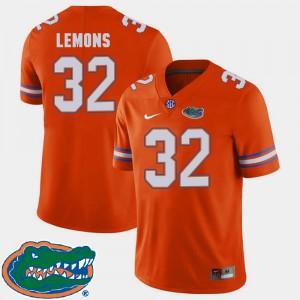 Florida Gators Adarius Lemons Jersey Orange College Football 2018 SEC #32 For Men's