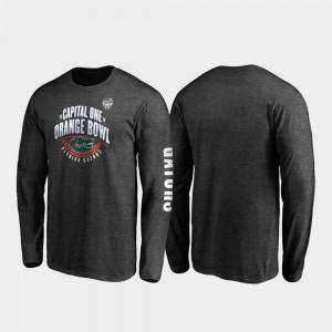 Florida Gators T-Shirt Heather Charcoal Neutral Stiff Arm Long Sleeve 2019 Orange Bowl Bound For Men