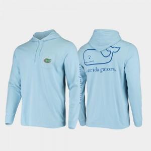 Florida Gators T-Shirt Men Hooded Long Sleeve Light Blue Whale