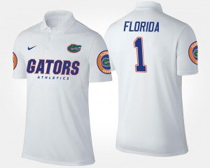 Florida Gators Polo White #1 For Men's No.1 Short Sleeve