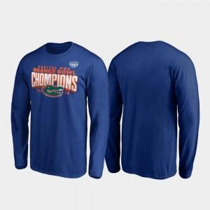 Florida Gators T-Shirt Receiver Long Sleeve 2019 Orange Bowl Champions Royal For Men