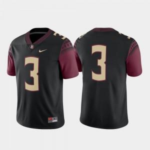 Florida State Seminoles Jersey #3 Alternate College Football Men's Game Black