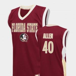 Florida State Seminoles Brandon Allen Jersey Red #40 Fadeaway College Basketball Mens