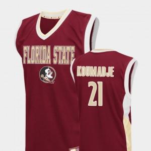 Florida State Seminoles Christ Koumadje Jersey Men #21 Fadeaway Red College Basketball