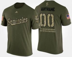 Florida State Seminoles Custom T-Shirt Short Sleeve With Message Men's Camo #00 Military