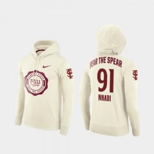 Florida State Seminoles Derrick Nnadi Hoodie Rival Therma College Football Pullover For Men #91 Cream