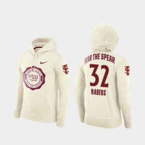 Florida State Seminoles Gabe Nabers Hoodie For Men's College Football Pullover #32 Rival Therma Cream
