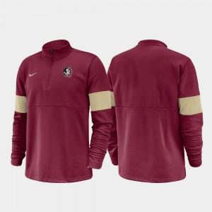 Florida State Seminoles Jacket 2019 Coaches Sideline Half-Zip Performance Garnet For Men