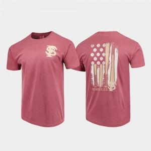 Florida State Seminoles T-Shirt Garnet Comfort Colors For Men Baseball Flag