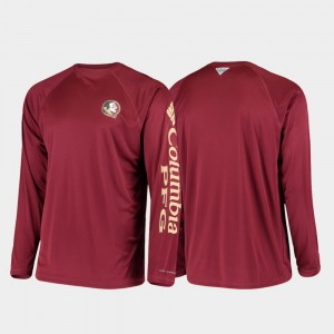 Florida State Seminoles T-Shirt Garnet Omni-Shade For Men PFG Terminal Tackle Long Sleeve