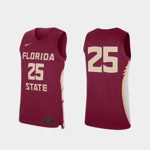 Florida State Seminoles Jersey College Basketball Garnet Replica #25 Men