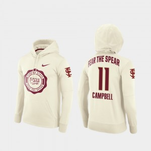 Florida State Seminoles George Campbell Hoodie College Football Pullover For Men #11 Rival Therma Cream
