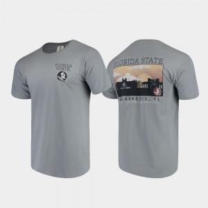 Florida State Seminoles T-Shirt Gray Comfort Colors Campus Scenery Mens