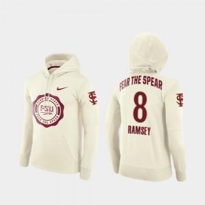 Florida State Seminoles Jalen Ramsey Hoodie Rival Therma College Football Pullover Cream #8 Mens