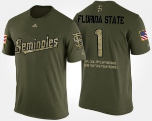 Florida State Seminoles T-Shirt For Men's No.1 Short Sleeve With Message Camo Military #1