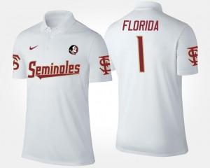 Florida State Seminoles Polo No.1 Short Sleeve Mens #1 White