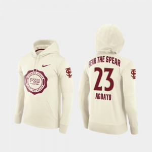 Florida State Seminoles Ricky Aguayo Hoodie Rival Therma College Football Pullover #23 Cream Men's