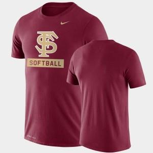 Florida State Seminoles T-Shirt Performance Softball Men's Drop Legend Garnet