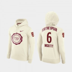 Florida State Seminoles Tre' McKitty Hoodie For Men's #6 College Football Pullover Rival Therma Cream