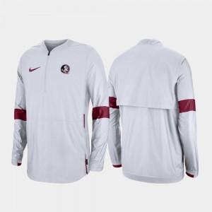 Florida State Seminoles Jacket 2019 Coaches Sideline For Men's Quarter-Zip White