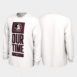 Florida State Seminoles T-Shirt White Our Time Bench Legend 2020 March Madness Men