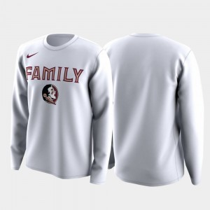 Florida State Seminoles T-Shirt Family on Court White March Madness Legend Basketball Long Sleeve For Men's