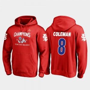 Fresno State Bulldogs Chris Coleman Hoodie 2018 Las Vegas Bowl Champions For Men's Red #8 Blitz