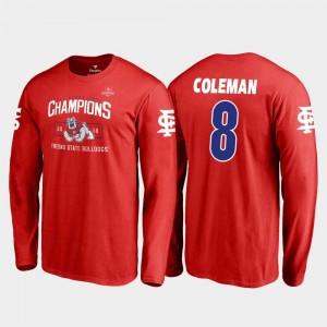 Fresno State Bulldogs Chris Coleman T-Shirt Blitz Long Sleeve 2018 Las Vegas Bowl Champions #8 Mens Red