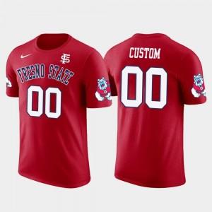 Fresno State Bulldogs Customized T-Shirt Red Future Stars Men #00 Cotton Football