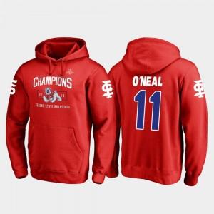 Fresno State Bulldogs Dejonte O'Neal Hoodie Blitz Red #11 2018 Las Vegas Bowl Champions Men's
