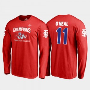 Fresno State Bulldogs Dejonte O'Neal T-Shirt Red For Men 2018 Las Vegas Bowl Champions Blitz Long Sleeve #11
