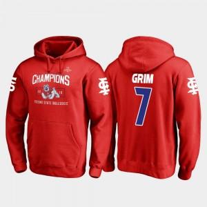 Fresno State Bulldogs Derrion Grim Hoodie Red Blitz #7 2018 Las Vegas Bowl Champions Mens