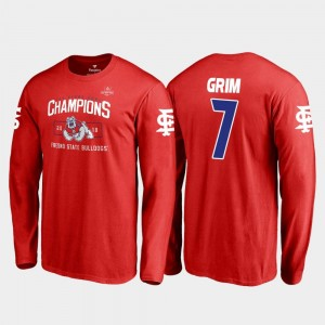 Fresno State Bulldogs Derrion Grim T-Shirt 2018 Las Vegas Bowl Champions Red #7 Men Blitz Long Sleeve
