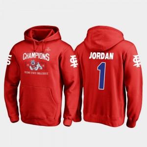 Fresno State Bulldogs Jamire Jordan Hoodie #1 Blitz Red 2018 Las Vegas Bowl Champions Mens