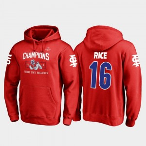 Fresno State Bulldogs Jared Rice Hoodie For Men 2018 Las Vegas Bowl Champions #16 Blitz Red