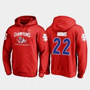 Fresno State Bulldogs Jordan Mims Hoodie #22 Mens Red Blitz 2018 Las Vegas Bowl Champions
