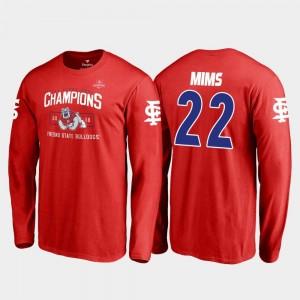 Fresno State Bulldogs Jordan Mims T-Shirt Red Blitz Long Sleeve 2018 Las Vegas Bowl Champions #22 For Men's