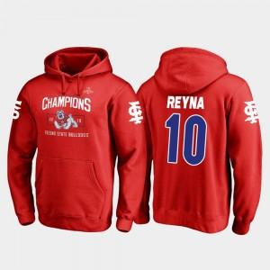 Fresno State Bulldogs Jorge Reyna Hoodie For Men's 2018 Las Vegas Bowl Champions Blitz #10 Red
