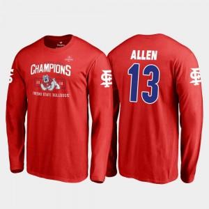 Fresno State Bulldogs Justin Allen T-Shirt Blitz Long Sleeve 2018 Las Vegas Bowl Champions #13 Red Men