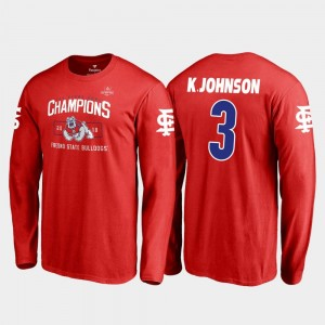 Fresno State Bulldogs KeeSean Johnson T-Shirt 2018 Las Vegas Bowl Champions For Men's Blitz Long Sleeve #3 Red
