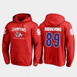 Fresno State Bulldogs Kyle Riddering Hoodie #89 2018 Las Vegas Bowl Champions Blitz For Men's Red