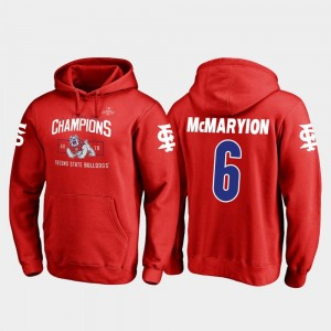 Fresno State Bulldogs Marcus McMaryion Hoodie #6 2018 Las Vegas Bowl Champions Red Mens Blitz