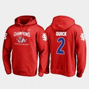 Fresno State Bulldogs Michiah Quick Hoodie 2018 Las Vegas Bowl Champions Blitz #2 Men Red