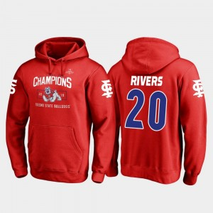 Fresno State Bulldogs Ronnie Rivers Hoodie #20 Blitz Men's 2018 Las Vegas Bowl Champions Red
