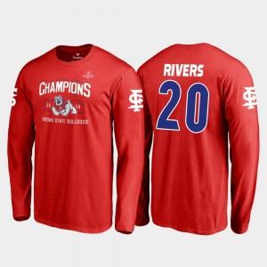 Fresno State Bulldogs Ronnie Rivers T-Shirt #20 Blitz Long Sleeve Red For Men 2018 Las Vegas Bowl Champions