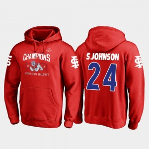 Fresno State Bulldogs Saevion Johnson Hoodie 2018 Las Vegas Bowl Champions #24 Men's Blitz Red